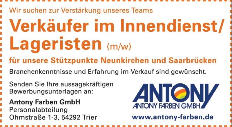Antony Farben Gmbh Stellenangebote Stellenangebot Verkäufer Im